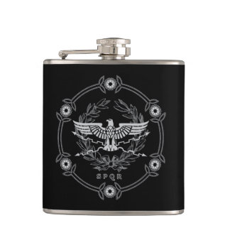 SPQR The Roman Empire Emblem Vinyl Wrapped Flask. Hip Flask