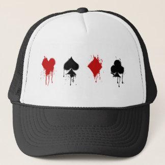 Spray Card Suits Trucker Hat