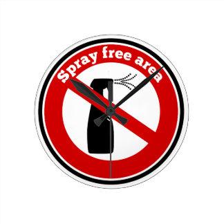 Spray free area sign round clocks