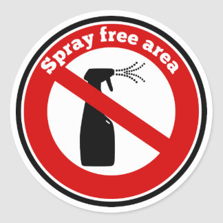 Spray free area sign stickers