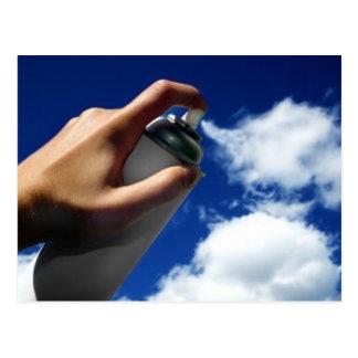 spray on clouds postcard