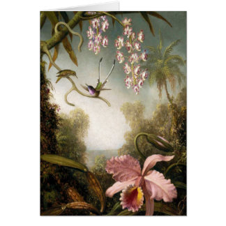 Spray Orchids with Hummingbird Note Card