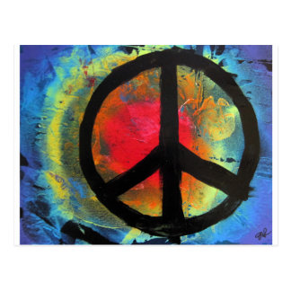 Spray Paint Art Rainbow Peace Sign Painting Postcard