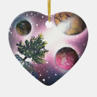 Spray Paint Art Space Landscape Painting Christmas Ornament