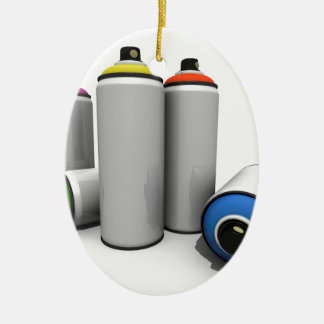Spray Paint Cans Ceramic Oval Decoration