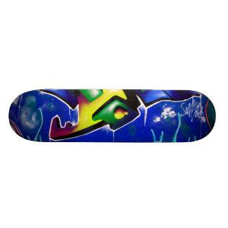 Spray painted graffiti skateboard deck