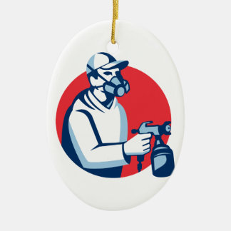 Spray Painter Spraying Paint Gun Retro Christmas Ornament