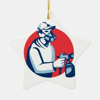 Spray Painter Spraying Paint Gun Retro Christmas Ornament