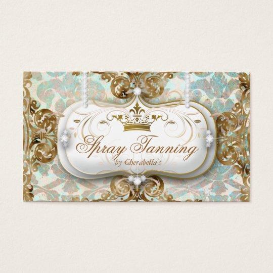 Spray Tan Elegant Crown Damask Jewellery Business Card
