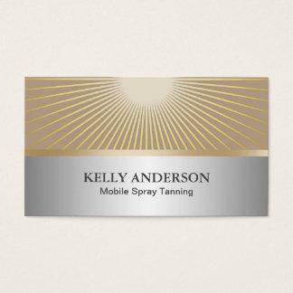 Spray Tanning Salon Modern Silver & Gold Business Card