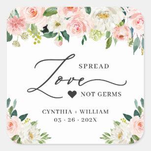Spread Love Blush Pink Floral Wedding Sanitizer Square Sticker