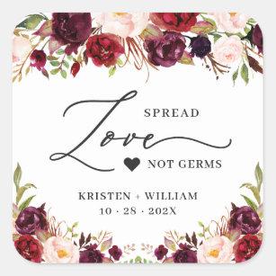 Spread Love Burgundy Red Floral Wedding Sanitizer Square Sticker