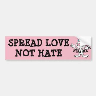 Spread Love Not Hate Hugs, Alien Bumper Sticker