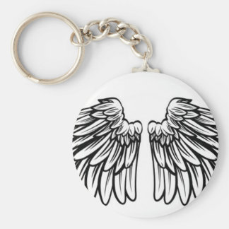 Spread Pair of Angel or Eagle Wings Basic Round Button Key Ring