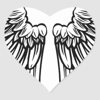 Spread Pair of Angel or Eagle Wings Heart Sticker