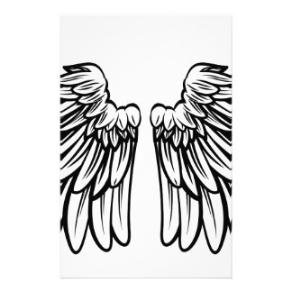 Spread Pair of Angel or Eagle Wings Personalized Stationery