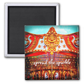 """Spread sparkle"" carousel gold face photo magnet"