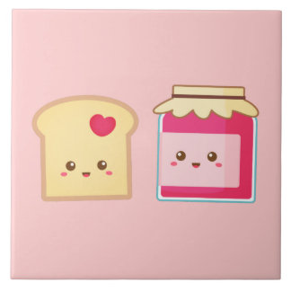 Spread the love with Cute Toast and Jam Large Square Tile