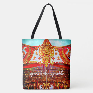 """Spread the sparkle"" carousel face photo tote bag"