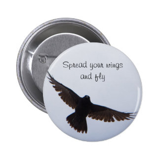 Spread Your Wings Crow Button
