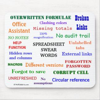 Spreadsheet Swear Words Cruel Funny Joke Terms Mouse Mat
