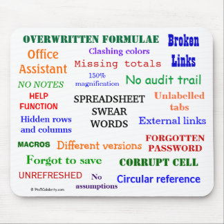Spreadsheet Swear Words - Spreadsheet Cuss Terms Mouse Pad