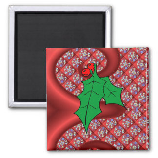 Sprig of Holly, Russian style design Square Magnet