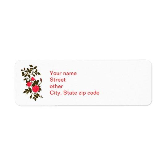 Sprig of Pink Roses Return Address Label