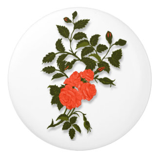 Sprig of Salmon, Coral, Orange Roses Ceramic Knob