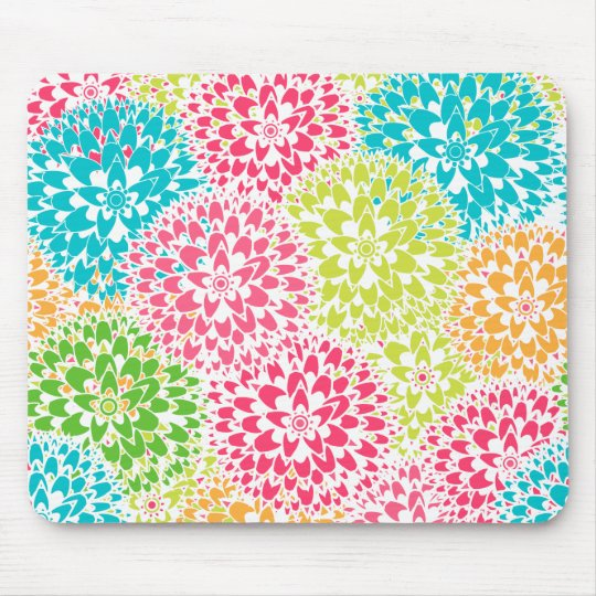 Spring Abstract Flowers Mouse Mat