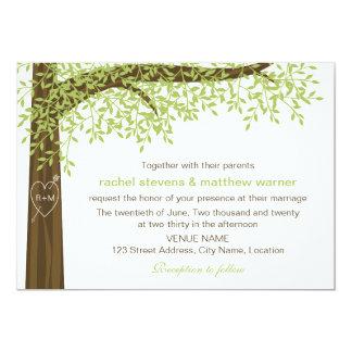 Spring and Summer Heart Tree Wedding 13 Cm X 18 Cm Invitation Card