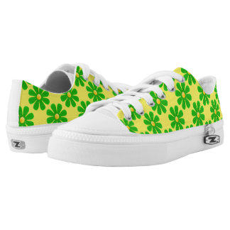 Spring apple green flowers on bright yellow printed shoes