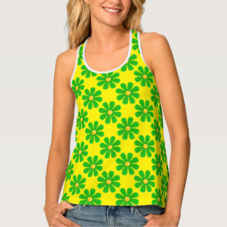 Spring apple green flowers on bright yellow tank top
