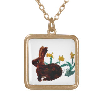 Spring Art Rabbit Daffodils Gold Plated Necklace