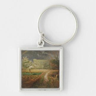 Spring at Barbizon, 1868-73 Silver-Colored Square Key Ring