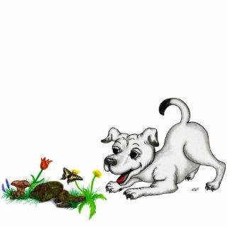 Spring-awake, puppy &Schmetterling to pin Photo Sculpture Badge