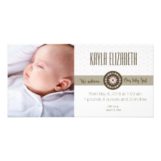 Spring baby girl birth announcement photo cards