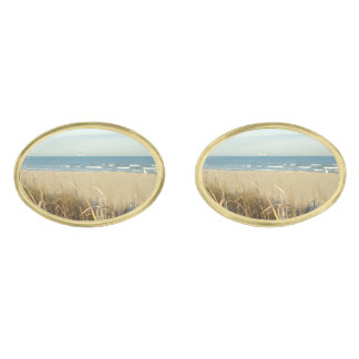 Spring Beach Scene No. 3 Gold Finish Cuff Links