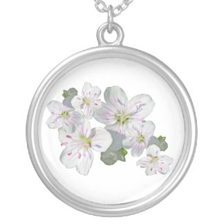 Spring Beauty Wildflower Coordinating Items Round Pendant Necklace