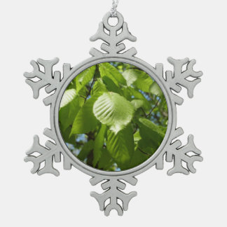 Spring Birch Leaves Green Tree Pewter Snowflake Decoration