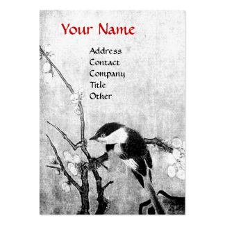SPRING BIRD, black and white red Business Card Templates