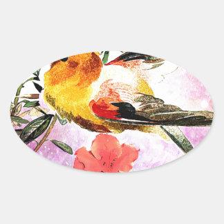 SPRING BIRD OVAL STICKER
