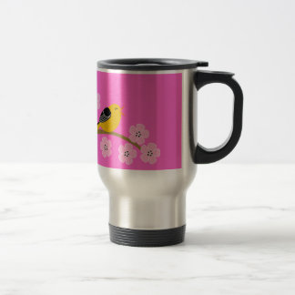 Spring birds & cherry  blossoms travel mug