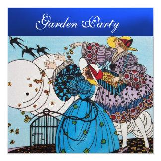 SPRING BIRDS GARDEN PARTY ,Blue Sapphire 13 Cm X 13 Cm Square Invitation Card