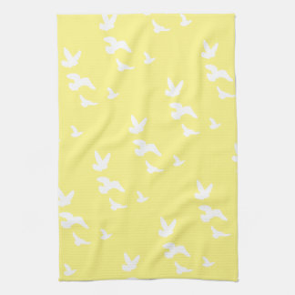 Spring Birds in Flight | Custom Background Color Kitchen Towels