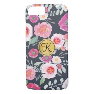 Spring Bloom Floral Phone Cover with Gold Monogram