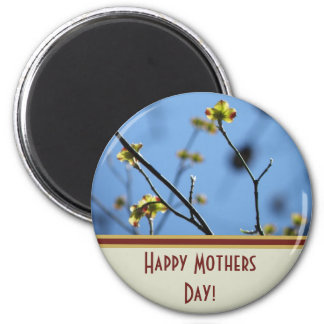 Spring Blossom, Happy Mothers Day Button Magnet