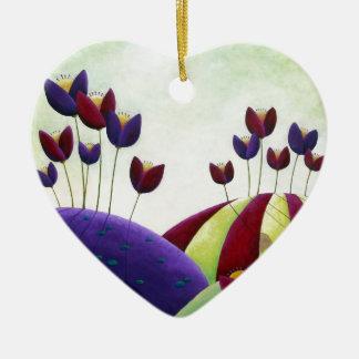 Spring Blossoms Ceramic Heart Decoration