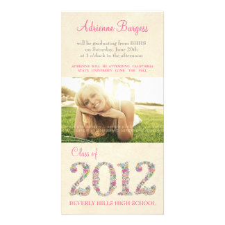 Spring Blossoms Class of 2012 Graduation PhotoCard Customized Photo Card