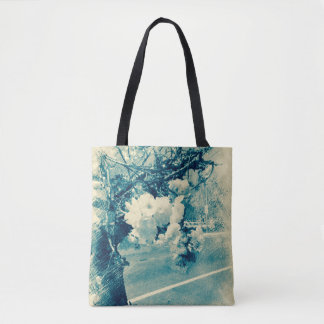 Spring blossoms etched in blue tote bag